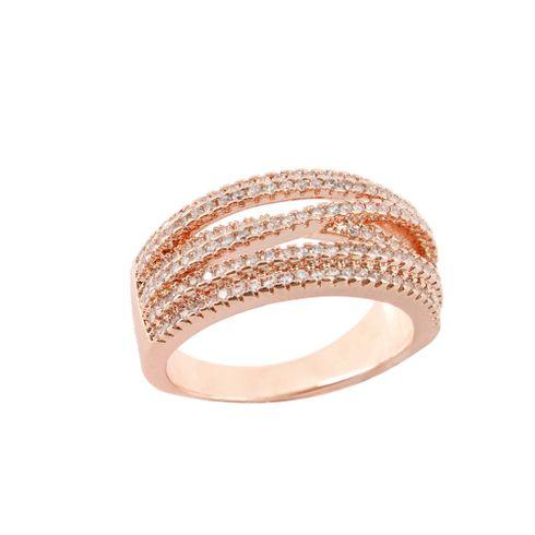 03a7407f5 Anel Transparente Pedra Zircônia Banho Rosê Cravejado Entrelaçado -  rosavalverde