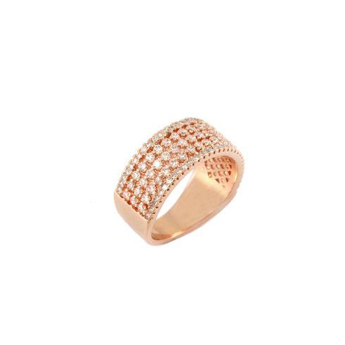 8bb08ede7 Anel Transparente Pedra Zircônia Banho Ouro Rosê 18k Cravejado Largo -  rosavalverde