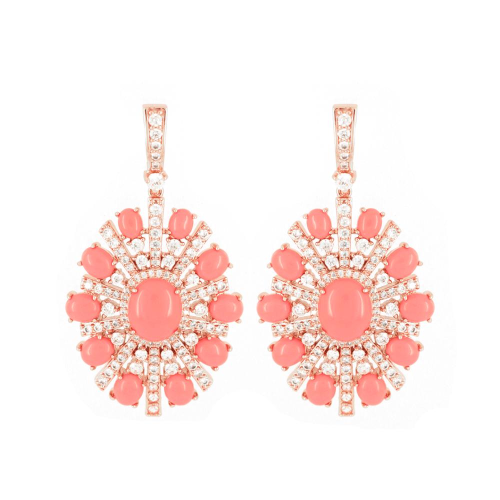 af5f8406e Brinco Coral Pedras Bijuteria Rosê Zircônia Festa - rosavalverde